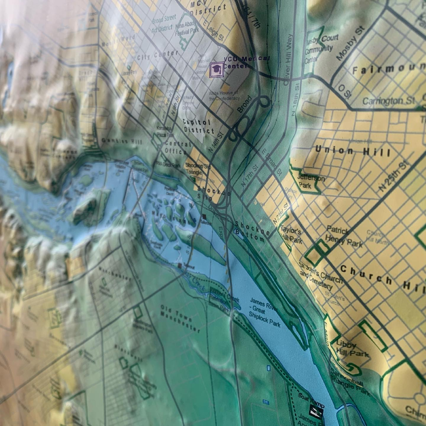 Raised Relief Map of Richmond